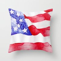 american flag Throw Pillows featuring American Flag by Bridget Davidson