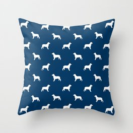 English Springer Spaniel dog breed pet art dog silhouette unique dog breeds navy and white Throw Pillow