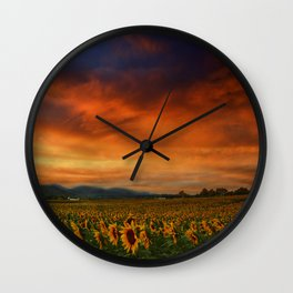 Sunset and Sunflowers Wall Clock