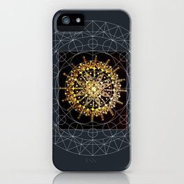 Black and Gold Hand Drawn Mandala with Digital Overlay iPhone Case
