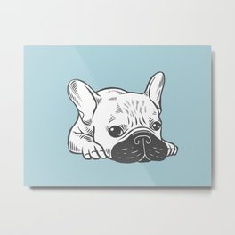 Black Mask Cream Frenchie Illustration Metal Print