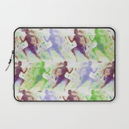 Watercolor women runner pattern Brown green blue Laptop Sleeve