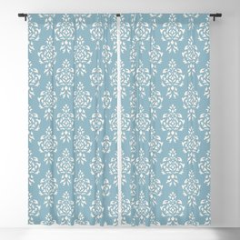 Crest Damask Repeat Pattern Cream on Blue Blackout Curtain