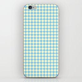 Cream Yellow and Baby Blue Diamonds iPhone Skin