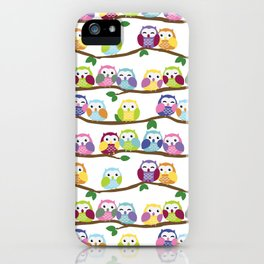 Colorful Owls On Branches iPhone Case