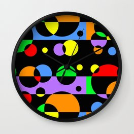 Rainbow Geometric Multicolored Modern Circle Pattern Wall Clock