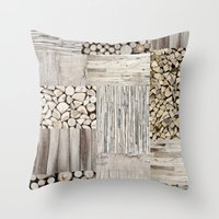 wood Throw Pillows featuring Wood by LebensART