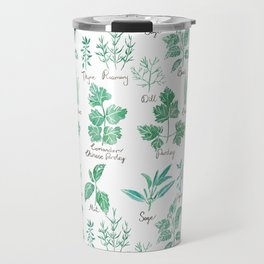 green herbs family watercolor Travel Mug