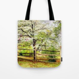Dogwoods and Red Birds Tote Bag
