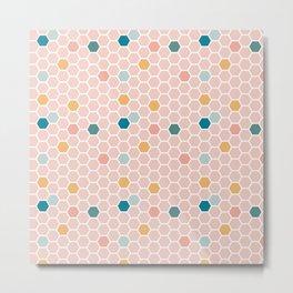 Hexagon Tile Pattern - Pink Pastel Metal Print