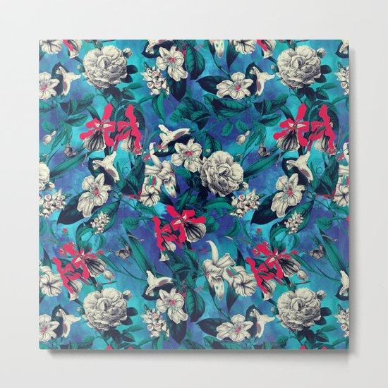 Botanical Garden on Blue Metal Print