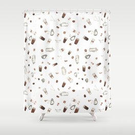 Coffee Sketches Collage Shower Curtain