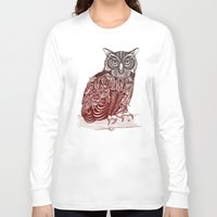 ornate Long Sleeve T-shirts featuring Most Ornate Owl by Rachel Caldwell
