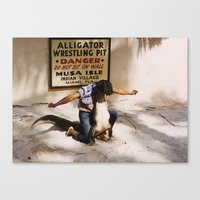 wrestling Canvas Prints featuring Aligator Wrestling by LostPhotos