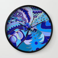 30 rock Wall Clocks featuring Abstract 30 by Linda Tomei