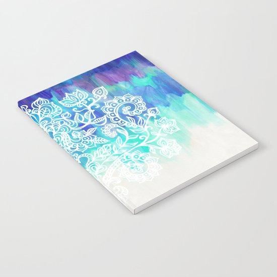 Indigo & Aqua Abstract - doodle painting Notebook