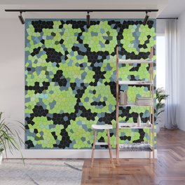 Cell Print Home Decor Graphic Design Pastel Colors Green Grey Blue Black Mint Lime Kiwi Wall Mural