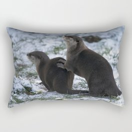 Otters In The Snow Rectangular Pillow
