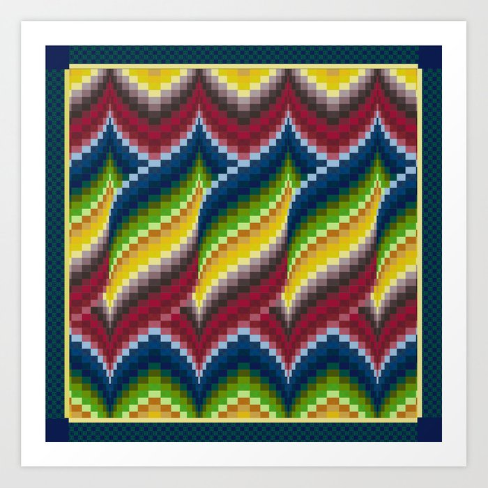 Bargello Quilt Pattern Impression 3 - red, blue, green, gold, ombre Art  Print by rvjdesigns