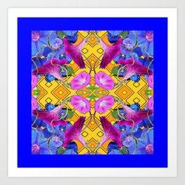 Contemporary  Pink, Blue, Purple Color Floral Art Print