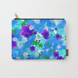 Bright Floral Pattern with Girly Flowers in Preppy Blue and Purple Carry-All Pouch