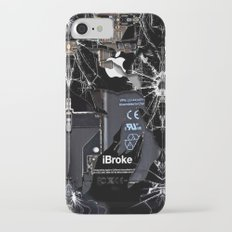 Broken, rupture, damaged, cracked black apple iPhone 4 5 5s 5c, ipad, pillow case and tshirt iPhone 7 Slim Case