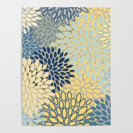 Floral Print, Yellow, Gray, Blue, Teal Poster