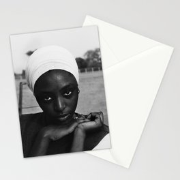 African American candid female form woman in turban black and white photograph / black and white photography Stationery Cards