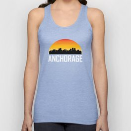 Sunset Skyline of Anchorage AK Unisex Tank Top