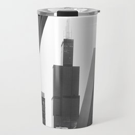 Sears Tower Sculpture Chicago Illinois Black and White Photo Travel Mug