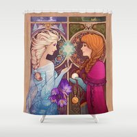 mucha Shower Curtains featuring Let Me In by Megan Lara