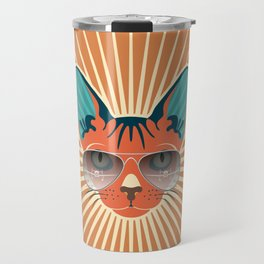 Retro Hipcat & His Sunglasses - Raw Sienna Sunburst Travel Mug