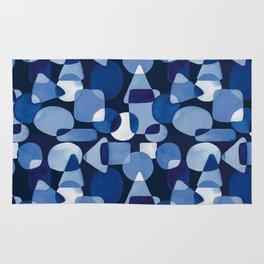 Blue Watercolour Geometric on Dark Blue Background Rug
