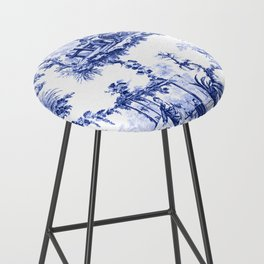 Blue Chinoiserie Toile Bar Stool