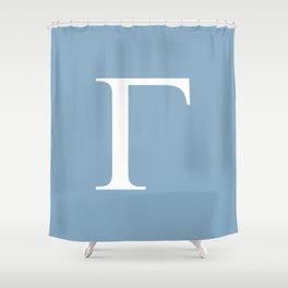 Greek letter Gamma sign on placid blue background Shower Curtain