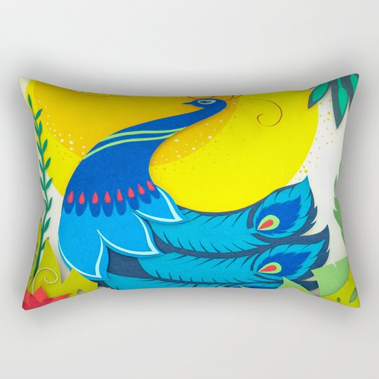 Peacock Paper Art Rectangular Pillow