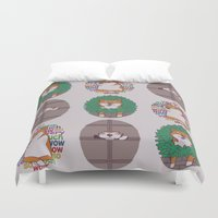 shiba inu Duvet Covers featuring Inu by Corinna Schlachter