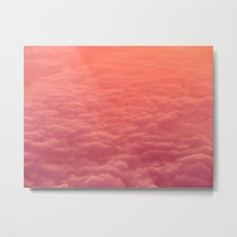 Magical Pink Orange Ombre Gradient Colorful Clouds Pastel Cotton Candy Texture Metal Print