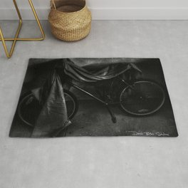 Get On Your Bike And Ride - Black And White Rug