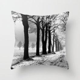 Winter Landscape (Winter Trees, Setting Sun) Throw Pillow