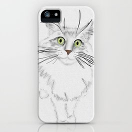 Green Eyed Greedy Cat iPhone Case