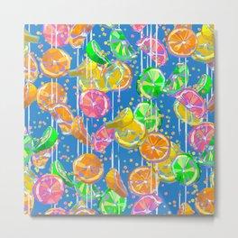 Pop Art Citrus Fizz   Blue Metal Print