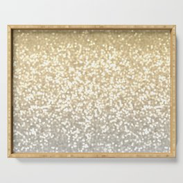 Gold and Silver Glitter Ombre Serving Tray
