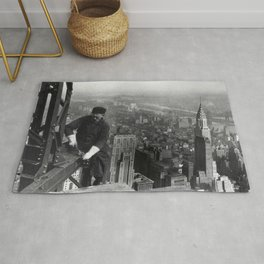 Construction worker Empire State Building NYC Rug