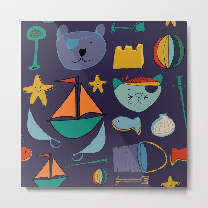 cat and bear pirate purple Metal Print