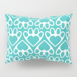 Paw Prints on my Heart - in Cyan Pillow Sham