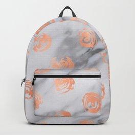 Roses Rose Gold Pink Marble Rose Pattern Backpack