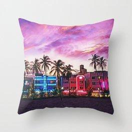 South Beach, Miami Lummas Park Twilight Pink Sunset landscape painting by Jeanpaul Ferro Throw Pillow