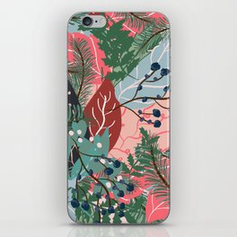 modern christmas abstract floral illustration pink blue green pattern iPhone Skin