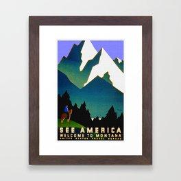 See America Montana - Retro Travel Poster Framed Art Print